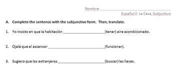 Spanish 2 Present Subjunctive Practice (with pop culture and home/hotel vocab)