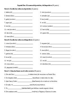 Spanish 2: Preterit vs. Imperfect Test