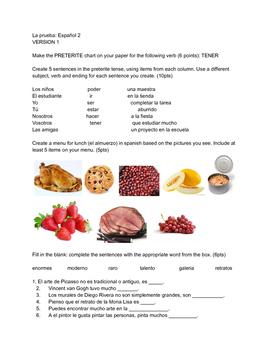 Spanish 2 Preterite/Food/Art vocabulary quiz U1 E3 En Espa