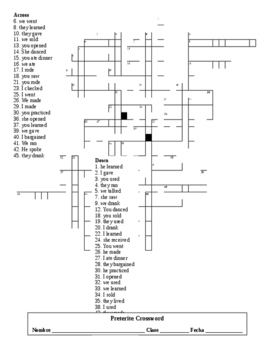 Spanish 2 Preterite Tense Crossword