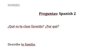 Spanish 2 Questions