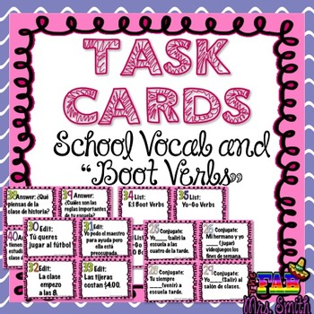"""TASK CARDS: School Vocab and """"Boot Verbs"""""""