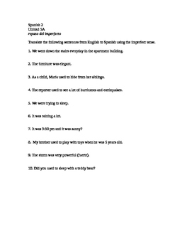 Spanish 2 Realidades 2 Chapter 5A imperfect