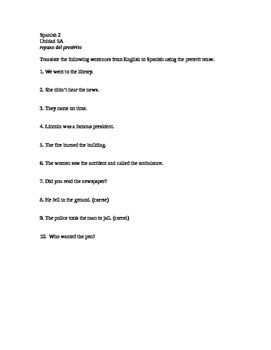 Spanish 2 Realidades 2 Chapter 5A preterite