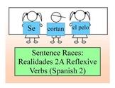 Spanish 2, Realidades 2A Sentence Race Game (reflexive verbs)