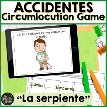 Spanish 2 (Realidades 5B) accident accidente VOCAB review: game La Serpiente