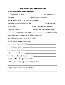Spanish 2: Reflexive Verb Worksheet 3