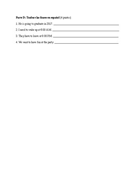 Spanish 2: Reflexive Verb Written Test