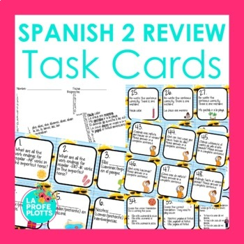 Spanish 2 Review Task Cards