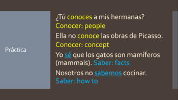 Spanish 2 Saber y Conocer Power Point Notes