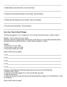 Spanish 2: Ser Review Packet