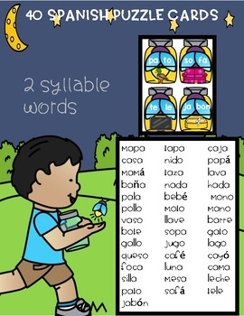 Spanish 2 Syllables Picture Puzzle Cards