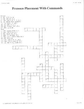 Spanish 2 - Usted and Ustedes Commands w/ Pronouns Crossword