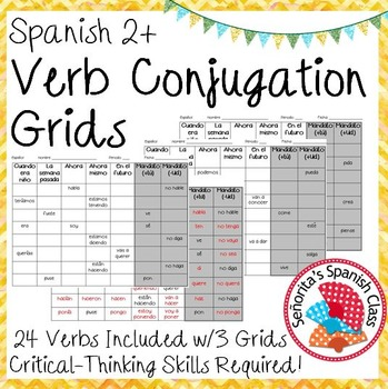 Spanish 2 - Verb Conjugation Grids!