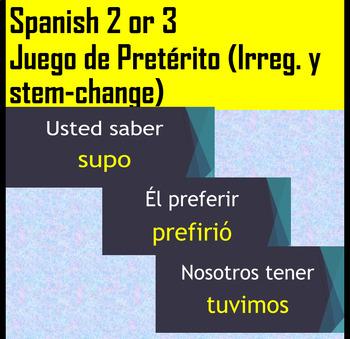 Spanish 2 White Board Irregular/Stem-change Preterite Conjugation Game