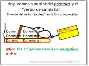 Spanish 2, irregular preterit - sandal verb, shortened version