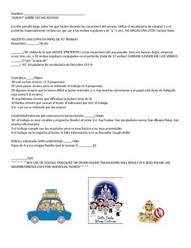 Spanish 2 or 3 First Day of School Vacation Album/Letter and Rubric