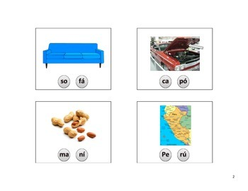 Spanish 2 syllable CVCV apraxia or articulation flashcards with final accent