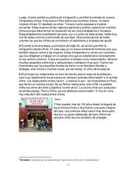 Thematic unit for Spanish 2: Peruanos chinos, una historia desconocida