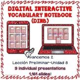 Spanish 2 vocabulary BUNDLE LP-U8 Digital Interactive Notebook