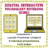 Spanish 1 vocabulary BUNDLE LP-U8 Digital Interactive Notebook
