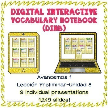 Spanish 1 vocabulary BUNDLE LP-U8 Digital Interactive Notebook
