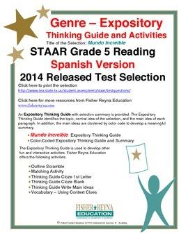 Spanish 2014 STAAR Analysis and Activities Bundle, Grade 5 Reading