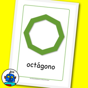 Spanish Shapes Flash Cards. Heart, Circle, Diamond, Square, Octagon, Pentagon...