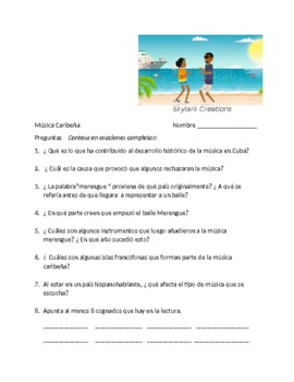 Spanish 3  Advanced reading  Caribbean Music and Song with listening activity