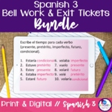 Spanish 3 Bell Work and Exit Tickets Bundle