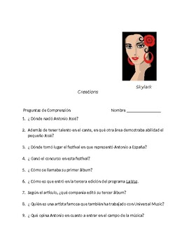 Spanish 3  Biography of Spanish singer and song with blanks