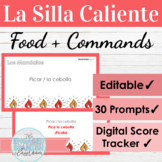 EDITABLE Spanish Food and Informal Commands Hot Seat Game