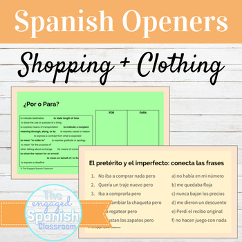 Spanish 3 Class Openers: Warm ups for Expresate 2 Chapter 8, Clothes + Shopping