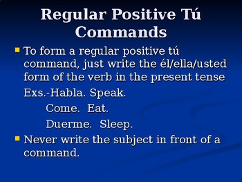 Spanish 3: Commands PowerPoint