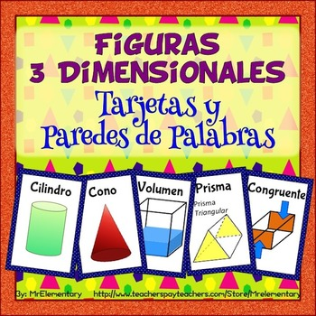 Spanish 3D Shapes Vocabulary Cards and Word Wall by Mr Elementary