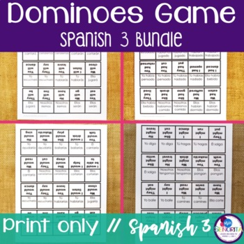 Spanish 3 Dominoes Games BUNDLE
