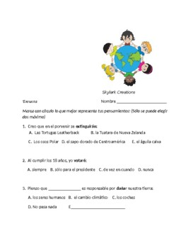 Spanish 3 Environment Survey and Speaking Activity