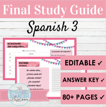 spanish 3 final exam study guide by the engaged spanish classroom rh teacherspayteachers com Spanish Midterm Study Guide II Spanish Midterm Study Guide II