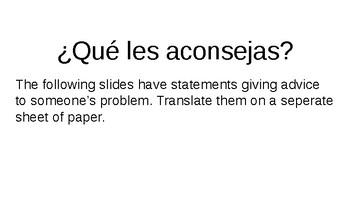 Spanish 3 Giving Advice Subjective