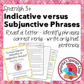 Spanish 3 - Indicative versus Subjunctive Key Phrases