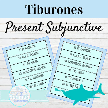 Spanish Present Subjunctive Tense / El Subjuntivo: Tiburones conjugation game