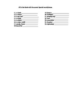 Spanish 3: Preterit and Vocab Quiz