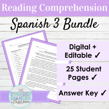 Spanish 3 Reading Comprehension BUNDLE: 5 Reading Passages