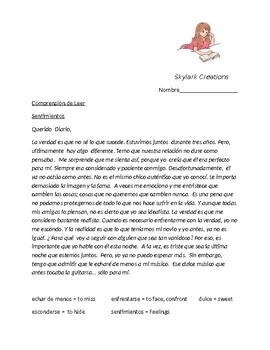 Spanish 3 Reading Comprehension  Diary entry  using subjunctive