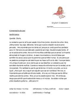 Spanish 3    Sentimientos  Reading Comprehension  Querido Diario