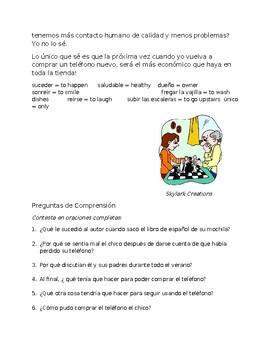 Spanish 3 Reading Comprehension -  ¿ Qué hago sin mi teléfono ?!