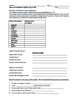 Spanish 1 Realidades Chapter 1 Worksheets & Teaching