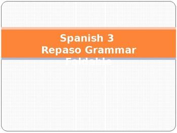 Spanish 3 Repaso Grammar Foldable Asi se dice