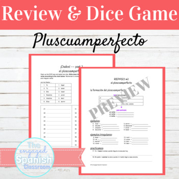 Spanish Present Perfect and Past Perfect (Pluscuamperfecto): Dice Game Packet