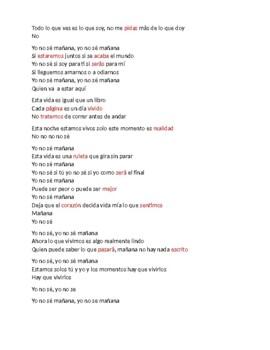 Spanish 3 Song for Future tense  Yo no Sé Mañana